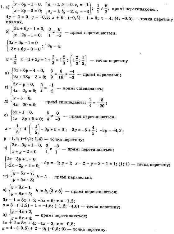 ГДЗ по геометрии 9 класс Апостолова Г.В. Разділ 1. Координатна площина. Тригонометричні функціі кутів від 0 до 180, § 3 Взаємне розміщення двох прямих, Завдання 4. Задание: 1