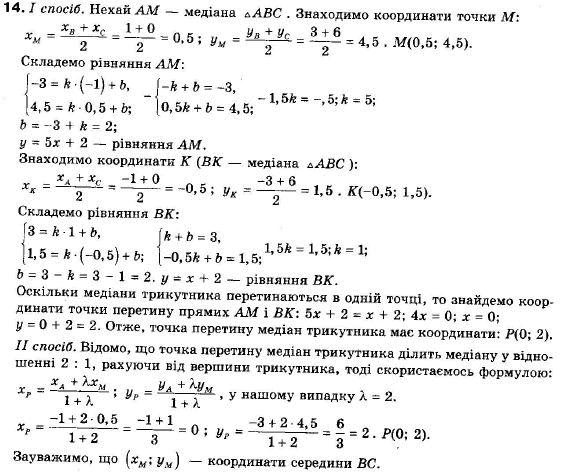 ГДЗ по геометрии 9 класс Апостолова Г.В. Разділ 1. Координатна площина. Тригонометричні функціі кутів від 0 до 180, § 3 Взаємне розміщення двох прямих, Завдання 4. Задание: 14