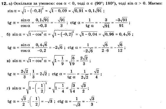 ГДЗ по геометрии 9 класс Апостолова Г.В. Разділ 1. Координатна площина. Тригонометричні функціі кутів від 0 до 180, § 4 Тригонометричні функціі кутів від 0 до 180, Завдання 5. Задание: 12