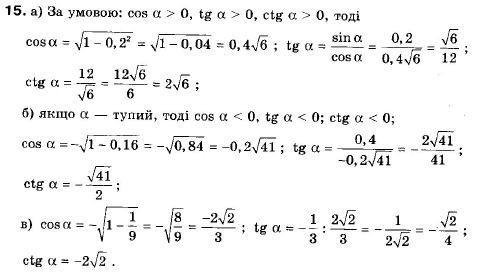 ГДЗ по геометрии 9 класс Апостолова Г.В. Разділ 1. Координатна площина. Тригонометричні функціі кутів від 0 до 180, § 4 Тригонометричні функціі кутів від 0 до 180, Завдання 5. Задание: 15