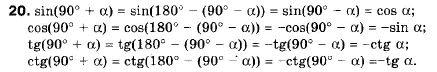 ГДЗ по геометрии 9 класс Апостолова Г.В. Разділ 1. Координатна площина. Тригонометричні функціі кутів від 0 до 180, § 4 Тригонометричні функціі кутів від 0 до 180, Завдання 5. Задание: 20