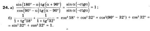 ГДЗ по геометрии 9 класс Апостолова Г.В. Разділ 1. Координатна площина. Тригонометричні функціі кутів від 0 до 180, § 4 Тригонометричні функціі кутів від 0 до 180, Завдання 5. Задание: 24