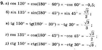 ГДЗ по геометрии 9 класс Апостолова Г.В. Разділ 1. Координатна площина. Тригонометричні функціі кутів від 0 до 180, § 4 Тригонометричні функціі кутів від 0 до 180, Завдання 5. Задание: 9