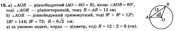 ГДЗ по геометрии 9 класс Апостолова Г.В. Разділ 1. Координатна площина. Тригонометричні функціі кутів від 0 до 180, § 5 Теорема синусів, Завдання 6. Задание: 15