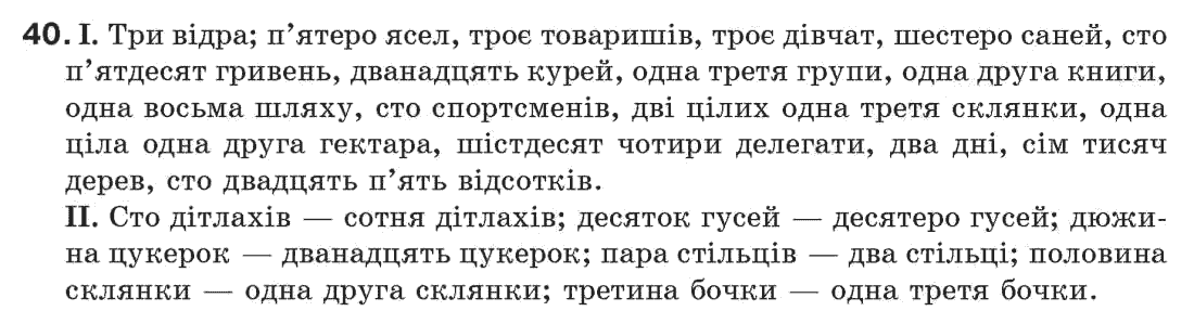ГДЗ по рiдна/укр. мова 7 класс М.I. Пентилюк, I.В. Гайдаєнко. Задание: 40