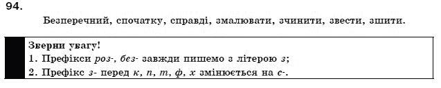 ГДЗ по рiдна/укр. мова 11 класс О.Б. Олiйник. Задание: 94
