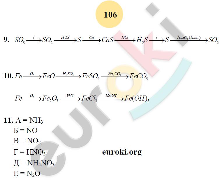 ГДЗ по химии 8 класс рабочая тетрадь Микитюк. К учебнику Габриелян. Задание: стр. 106