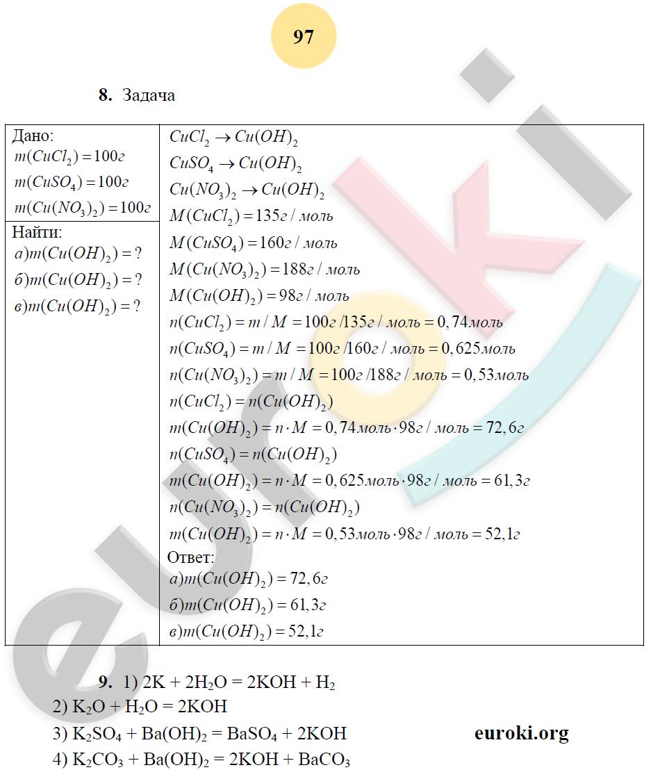 ГДЗ по химии 8 класс рабочая тетрадь Микитюк. К учебнику Габриелян. Задание: стр. 97