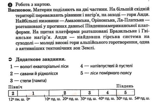 ГДЗ відповіді робочий зошит по географии 7 класс О.Г. Стадник. Задание: №11(2)