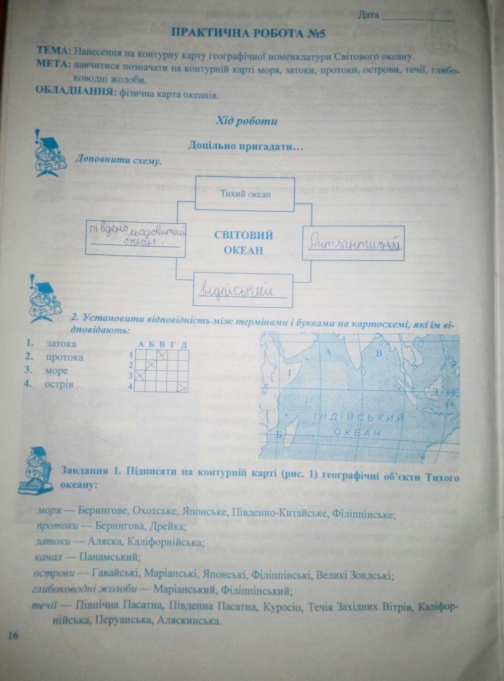 ГДЗ відповіді робочий зошит по географии 7 класс Варакута О., Швець Є.. Задание: стр. 16