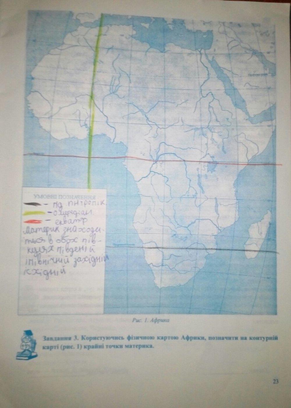 ГДЗ відповіді робочий зошит по географии 7 класс Варакута О., Швець Є.. Задание: стр. 23