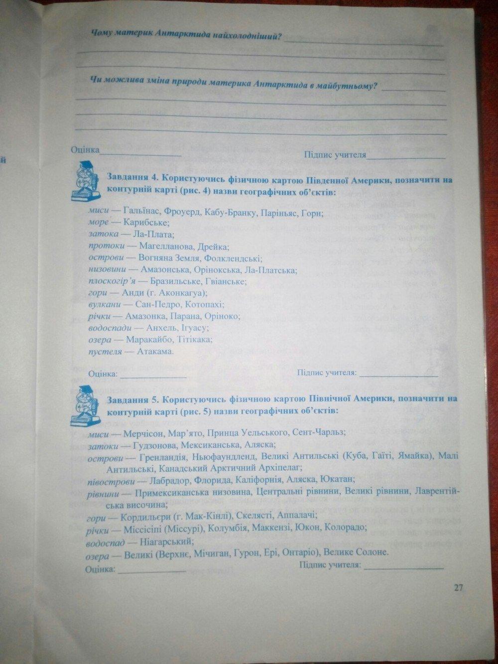 ГДЗ відповіді робочий зошит по географии 7 класс Варакута О., Швець Є.. Задание: стр. 27