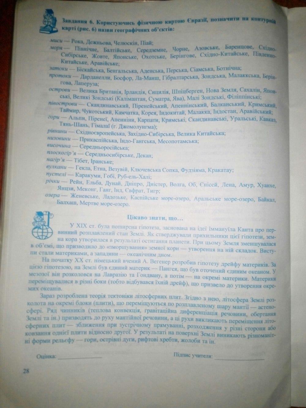 ГДЗ відповіді робочий зошит по географии 7 класс Варакута О., Швець Є.. Задание: стр. 28