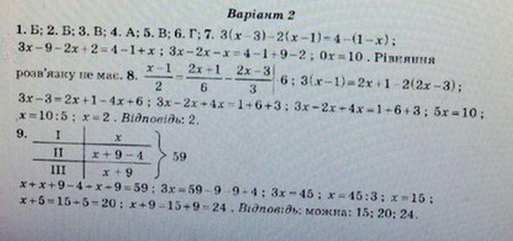 ГДЗ по алгебре 7 класс Роганін О. М. Алгебра, Контрольные работы. Задание: №1. Вариант 2