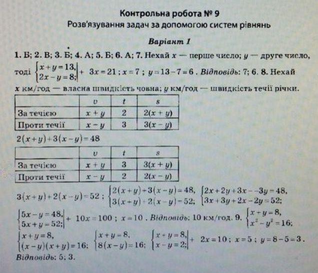 ГДЗ по алгебре 7 класс Роганін О. М. Алгебра, Контрольные работы. Задание: №9. Вараинт 1