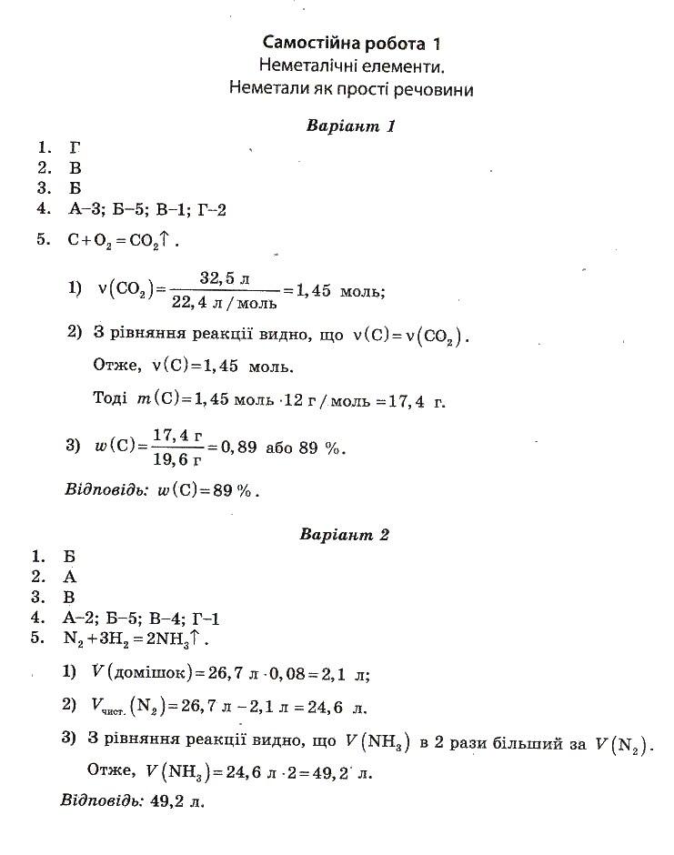 ГДЗ по химии 10 класс Ісаєнко Ю. В., Гога С. Т. Самостоятельные работы. Задание: №1