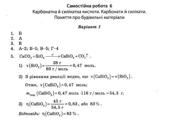 ГДЗ по химии 10 класс Ісаєнко Ю. В., Гога С. Т. Самостоятельные работы. Задание: №6. Вариант 1
