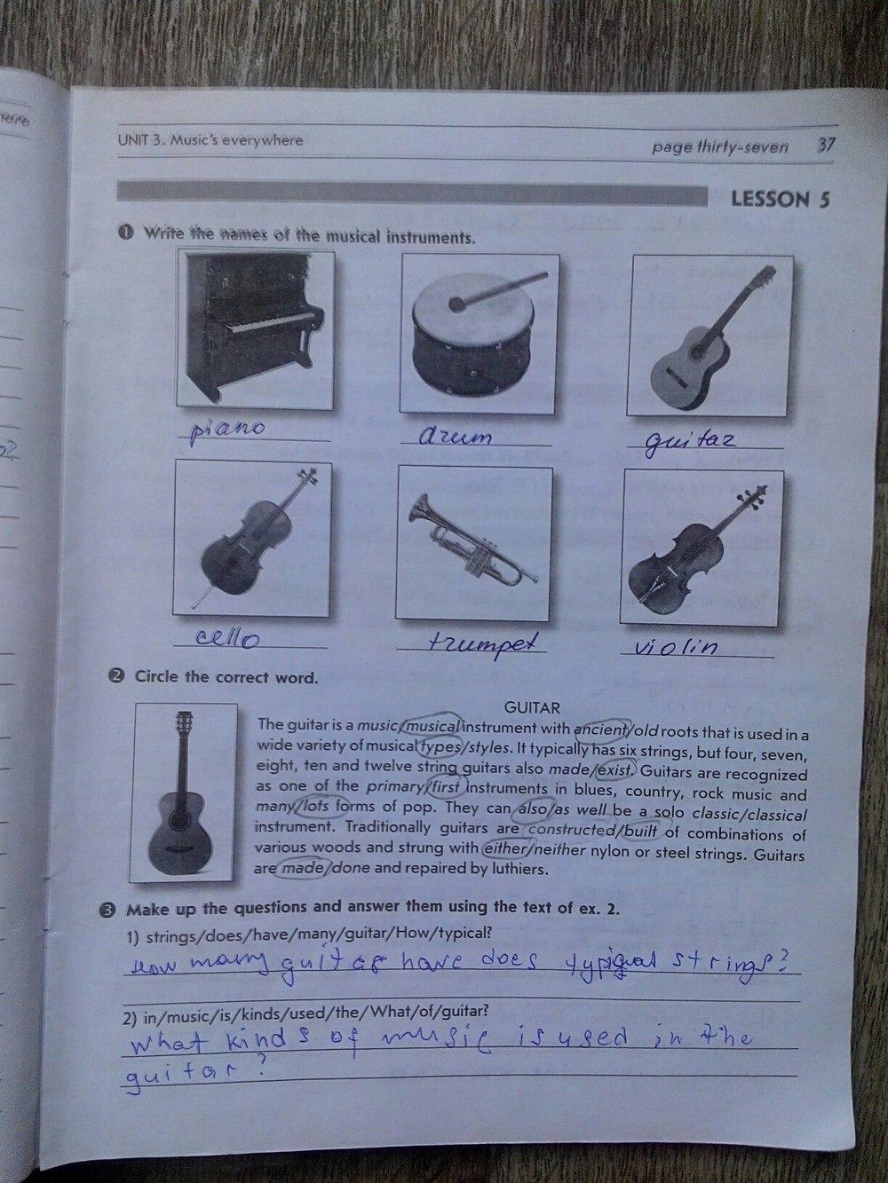 ГДЗ відповіді робочий зошит по английскому языку 8 класс О.М. Павліченко. Задание: стр. 37