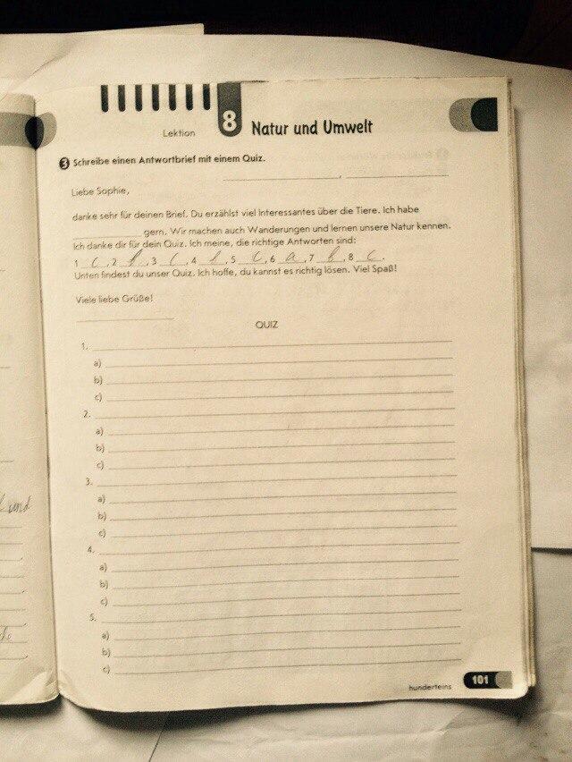 ГДЗ відповіді робочий зошит по немецкому языку 7 класс Світлана Сотникова. Задание: стр. 101