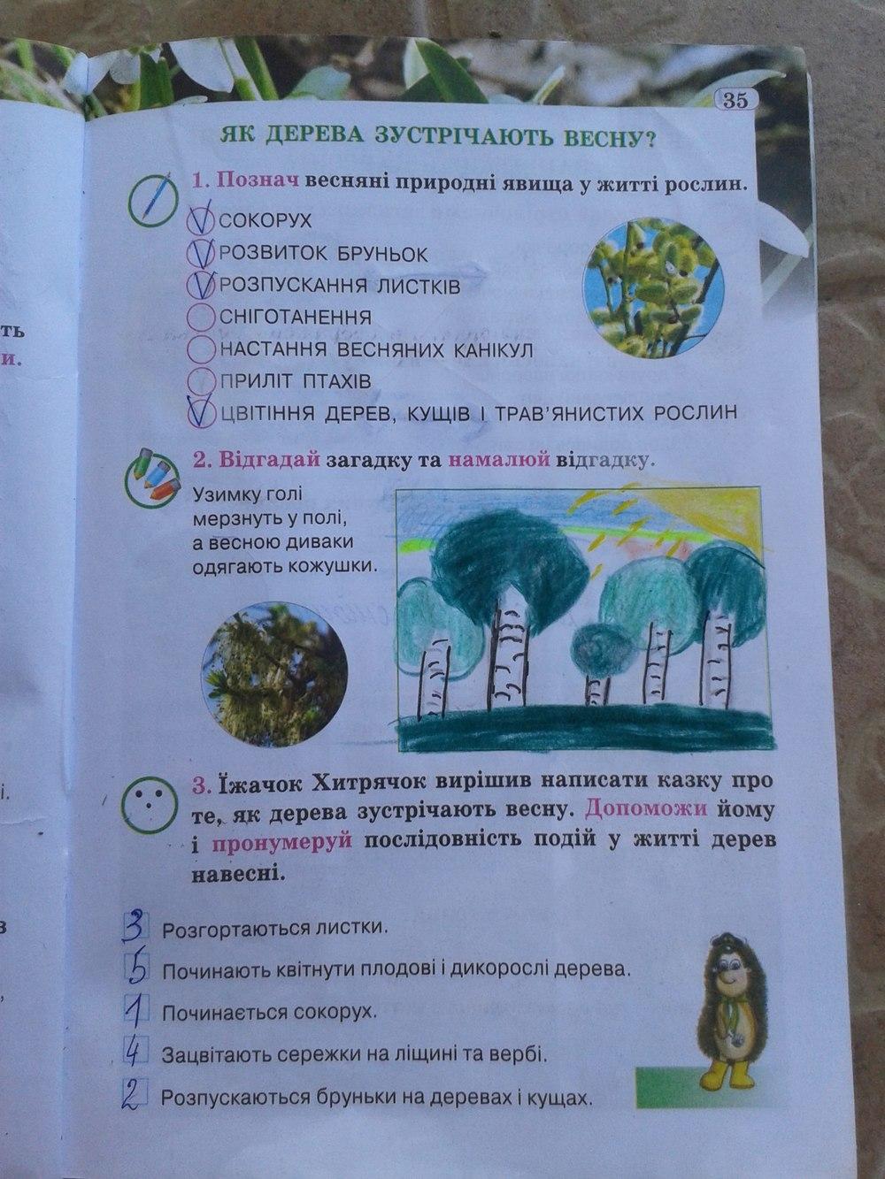 ГДЗ відповіді робочий зошит по биологии 2 класс И. Грущинська. Задание: стр. 35