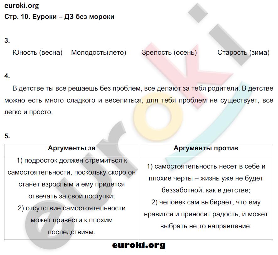 ГДЗ по обществознанию 5 класс рабочая тетрадь Иванова, Хотеенкова. Задание: стр. 10