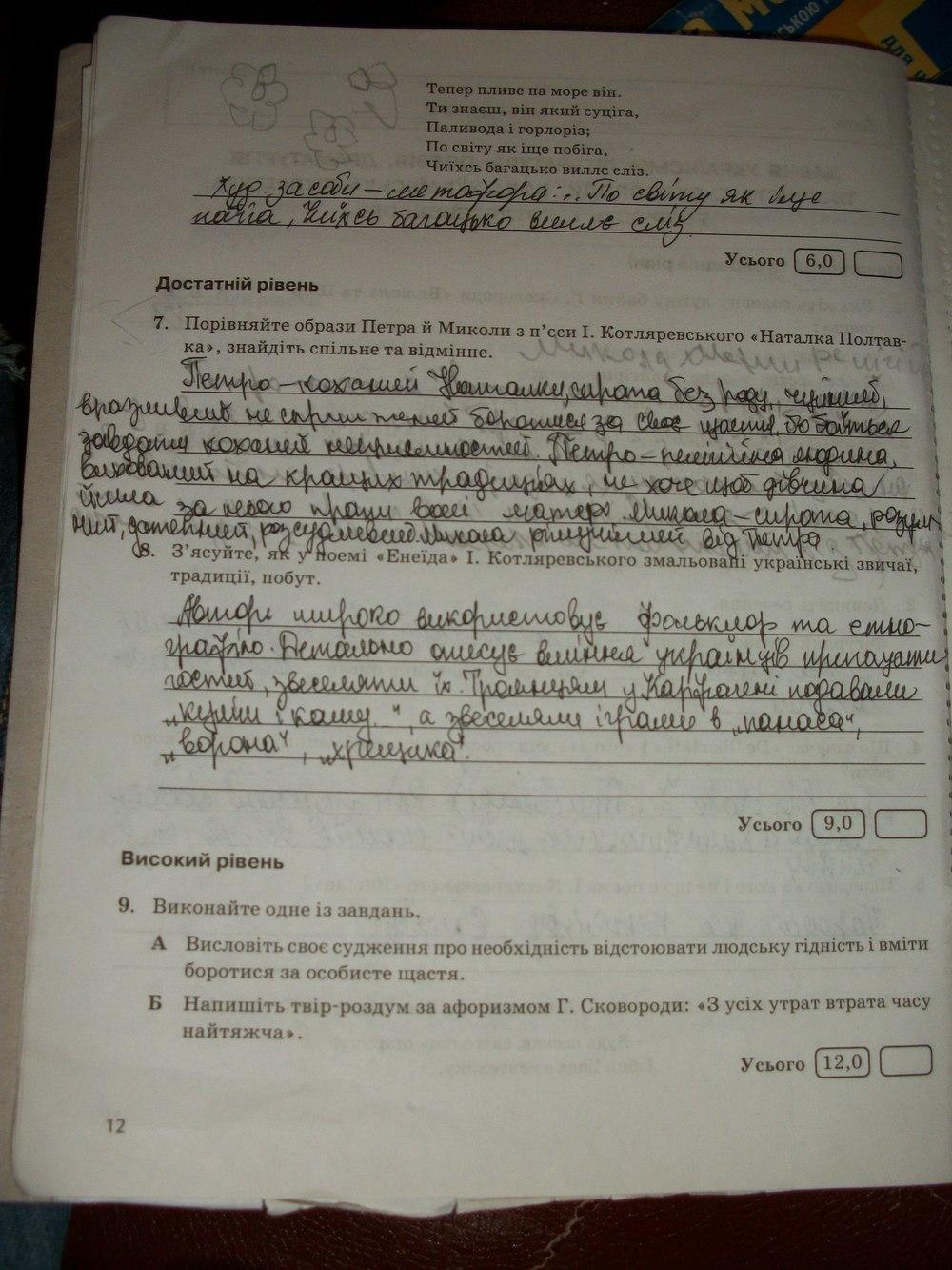 ГДЗ відповіді робочий зошит по литературе 9 класс В.В. Паращич. Задание: стр. 12