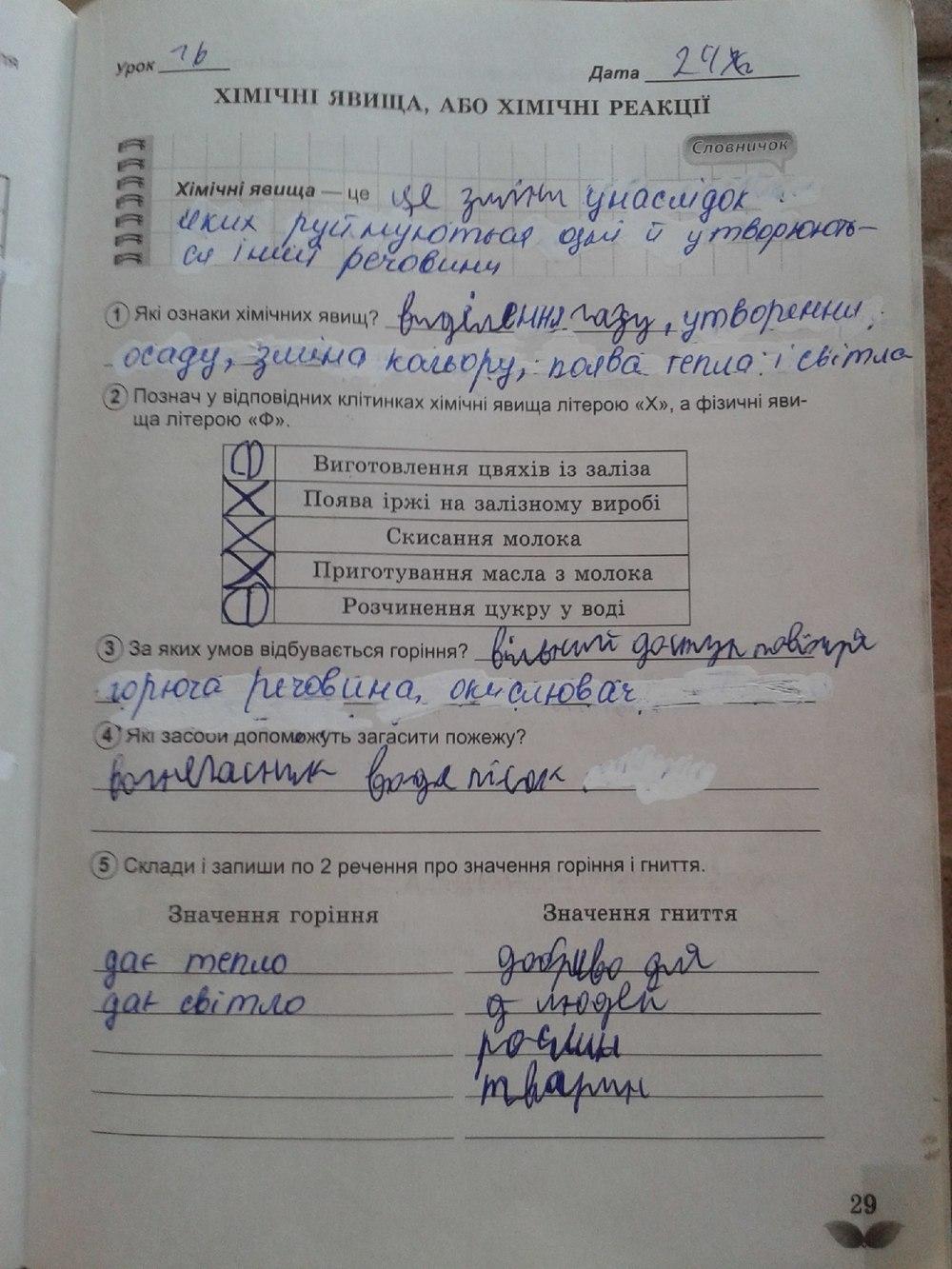ГДЗ відповіді робочий зошит по биологии 5 класс Коршевнюк Т.В., Ярошенко О.Г.. Задание: стр. 29