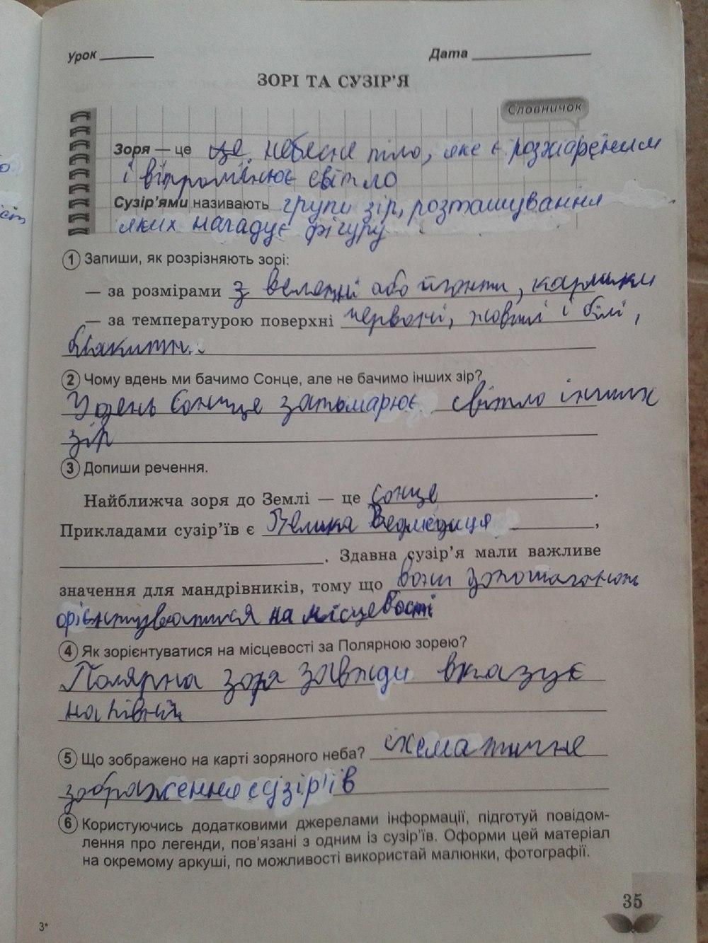ГДЗ відповіді робочий зошит по биологии 5 класс Коршевнюк Т.В., Ярошенко О.Г.. Задание: стр. 35