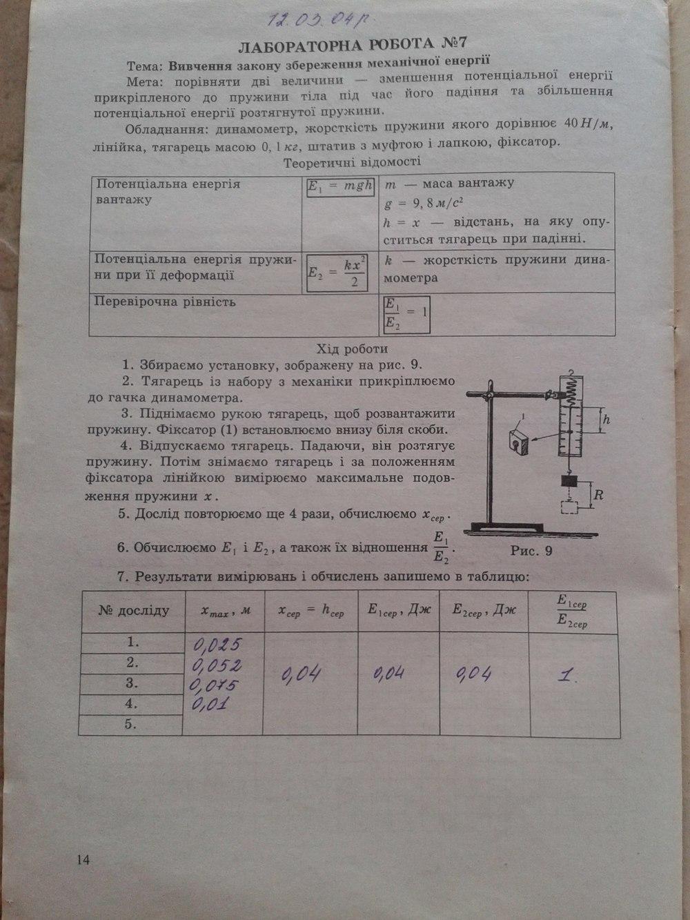 ГДЗ відповіді робочий зошит по физике 9 класс . Задание: стр. 14
