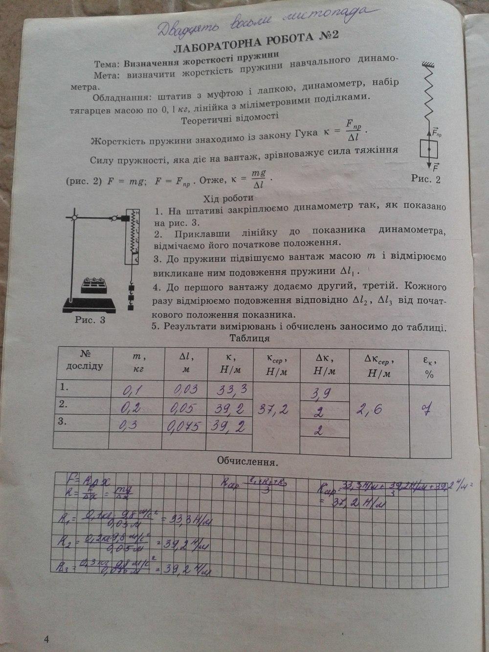 ГДЗ відповіді робочий зошит по физике 9 класс . Задание: стр. 4