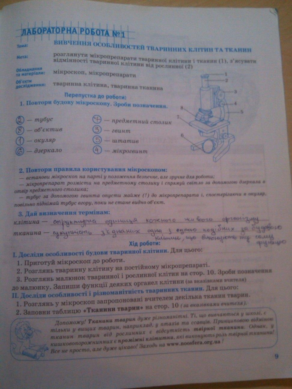 ГДЗ відповіді робочий зошит по биологии 8 класс О.В. Князева. Задание: стр. 9