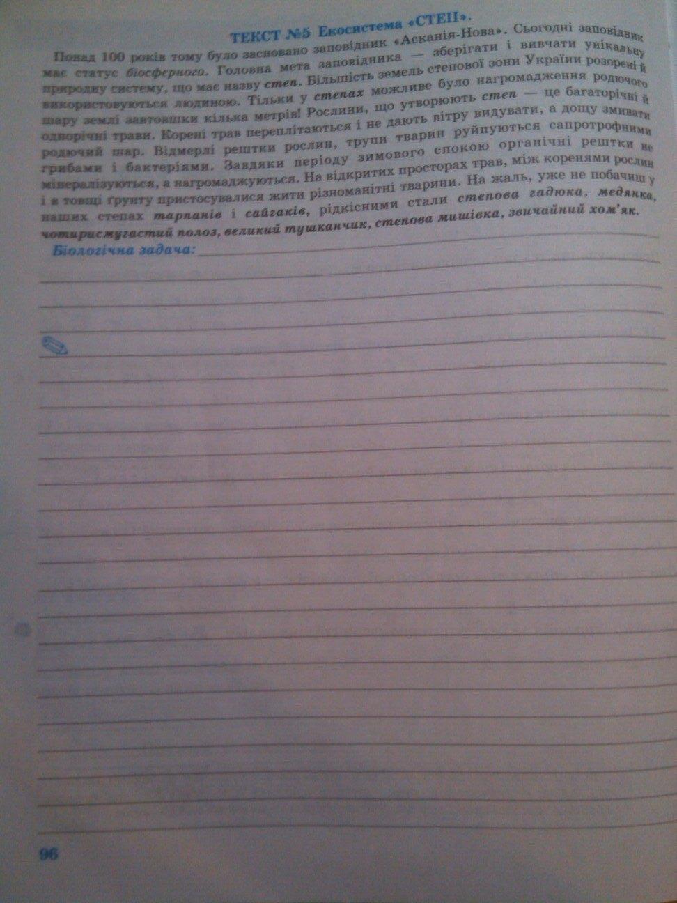 ГДЗ відповіді робочий зошит по биологии 8 класс О.В. Князева. Задание: стр. 96