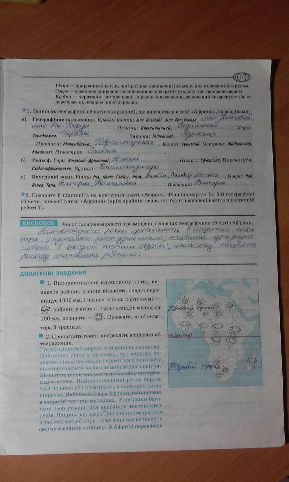 ГДЗ відповіді робочий зошит по географии 7 класс О.Г. Стадник. Задание: стр. 15