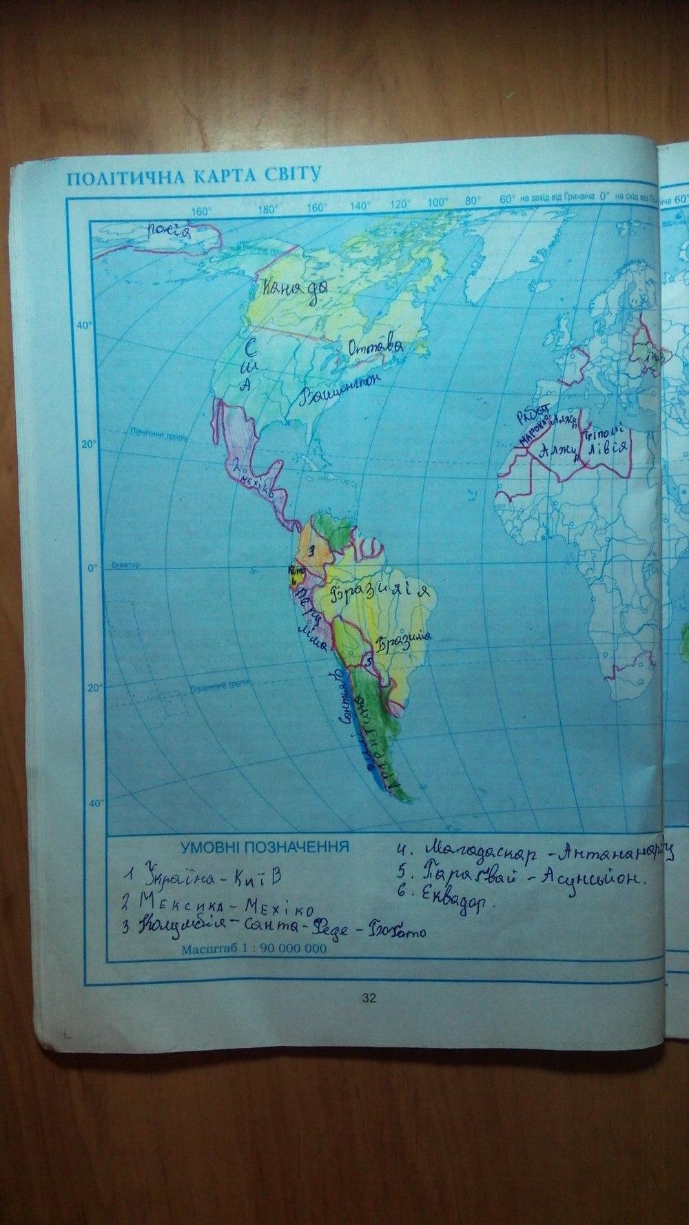 ГДЗ відповіді робочий зошит по географии 6 класс Кобернік С. Г., Коваленко Р. Р.. Задание: стр. 32