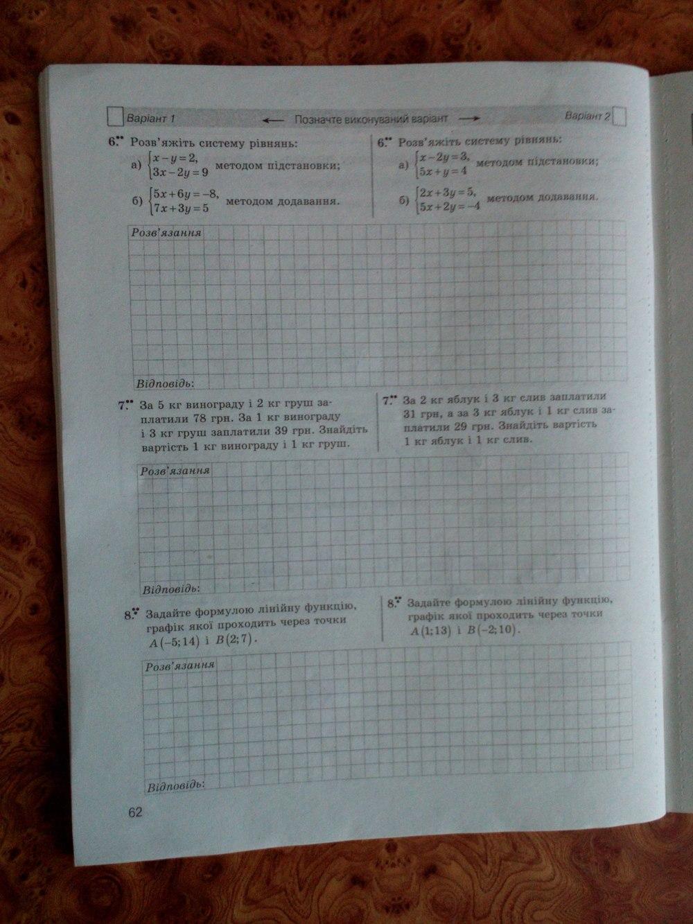 ГДЗ відповіді робочий зошит по алгебре 7 класс Стадник Л.Г., Роганін О.М.. Задание: стр. 62