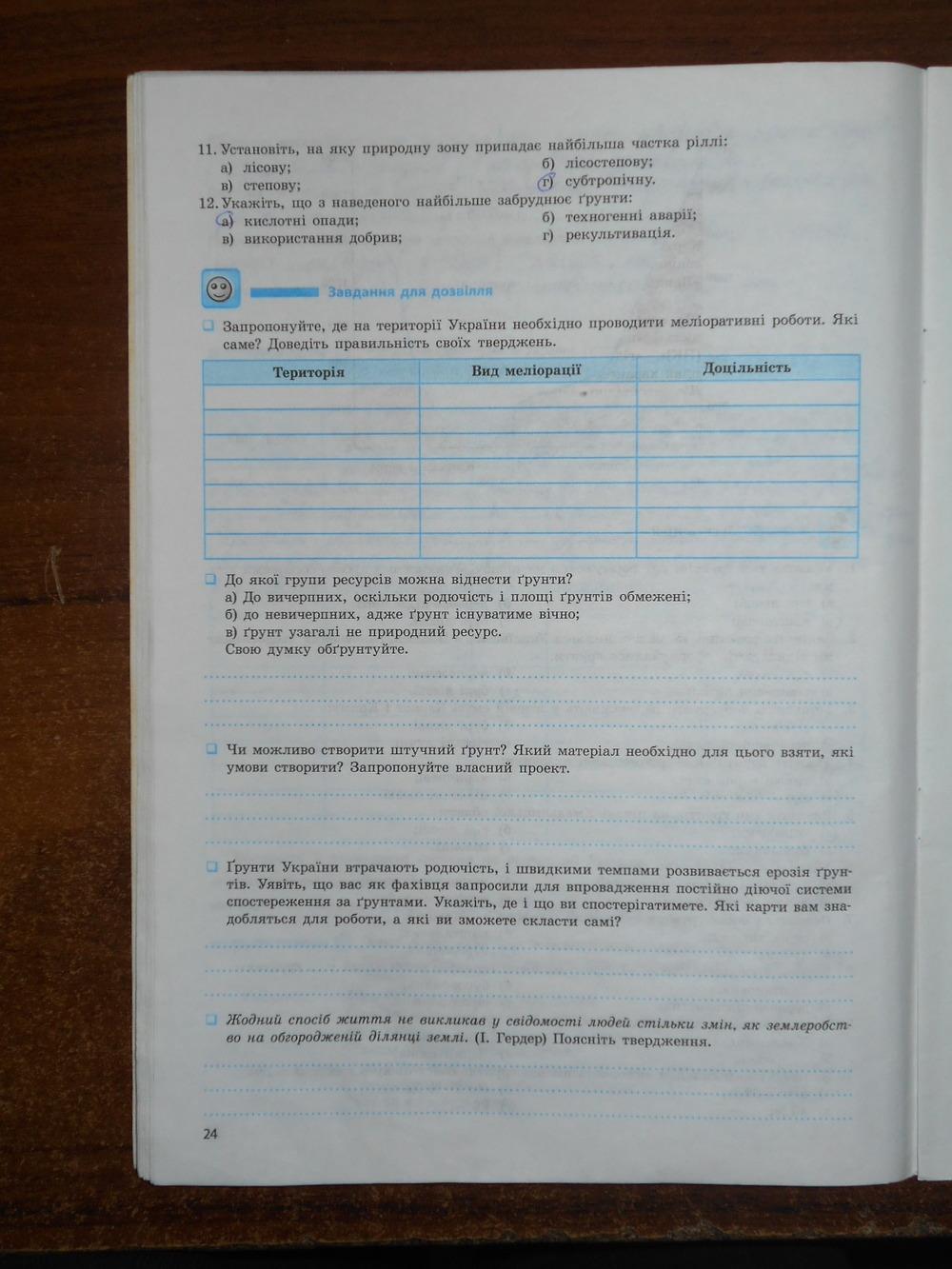 ГДЗ відповіді робочий зошит по географии 8 класс Т.Г. Гільберг, В.М. Проценко. Задание: стр. 24