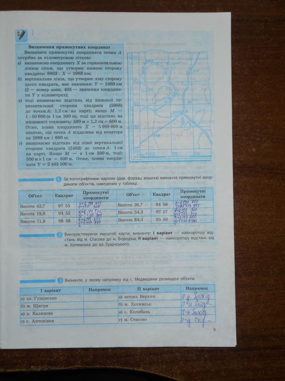 ГДЗ відповіді робочий зошит по географии 8 класс Т.Г. Гільберг, В.М. Проценко. Задание: стр. 9