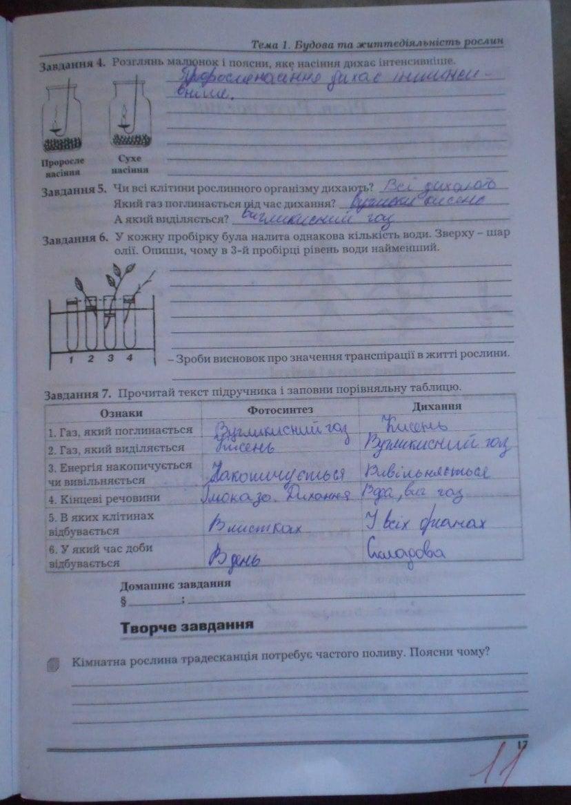 7 з биологии гдз по а.калинчук класса для зошите