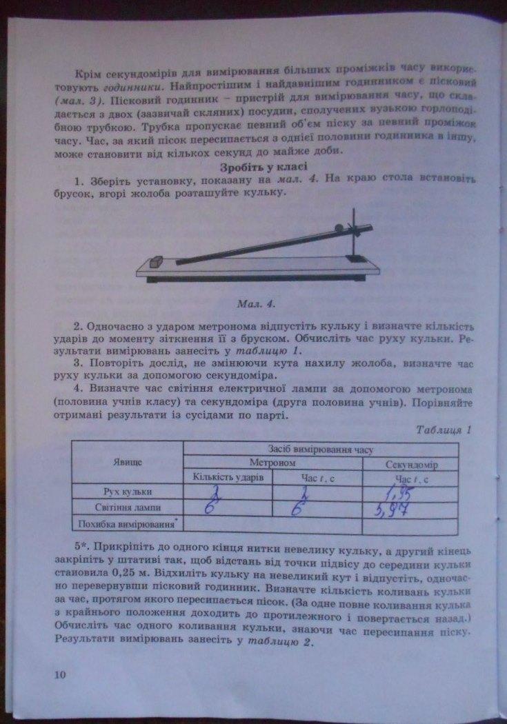 ГДЗ відповіді робочий зошит по физике 7 класс Гудзь В.В., Заклевський О.Я., Міль М.С.. Задание: стр. 10