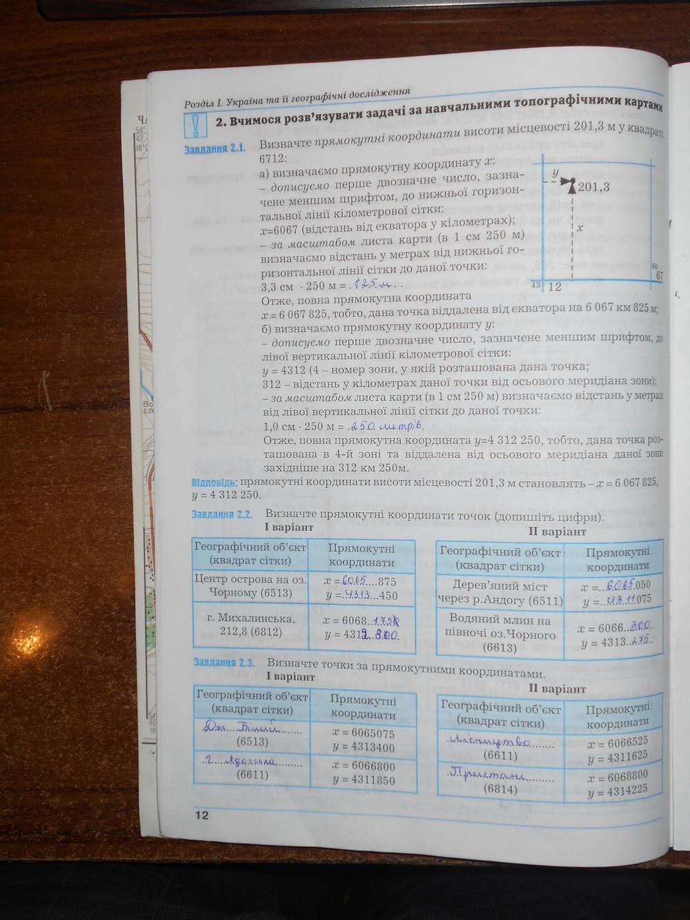 ГДЗ відповіді робочий зошит по географии 8 класс Думанська Г.В., Назаренко Т.Г.. Задание: стр. 12