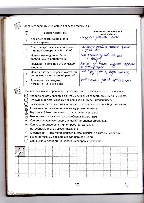 ГДЗ відповіді робочий зошит по биологии 9 класс Котик, Таглина. Задание: стр. 102