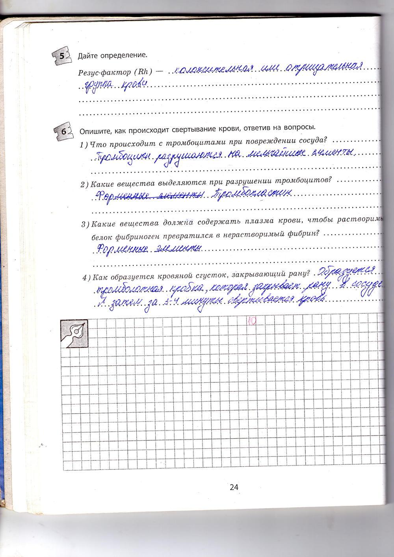 ГДЗ відповіді робочий зошит по биологии 9 класс Котик, Таглина. Задание: стр. 24