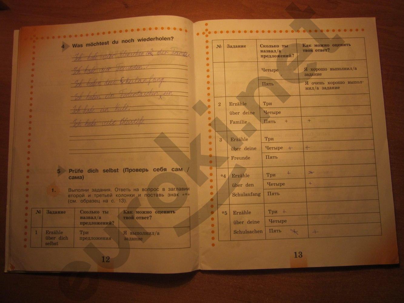 ГДЗ по немецкому языку 4 класс рабочая тетрадь Бим И.Л., Рыжова Л.И. Часть 1. Задание: стр. 12-13