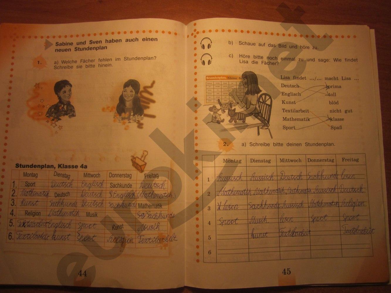 ГДЗ по немецкому языку 4 класс рабочая тетрадь Бим И.Л., Рыжова Л.И. Часть 1. Задание: стр. 44-45