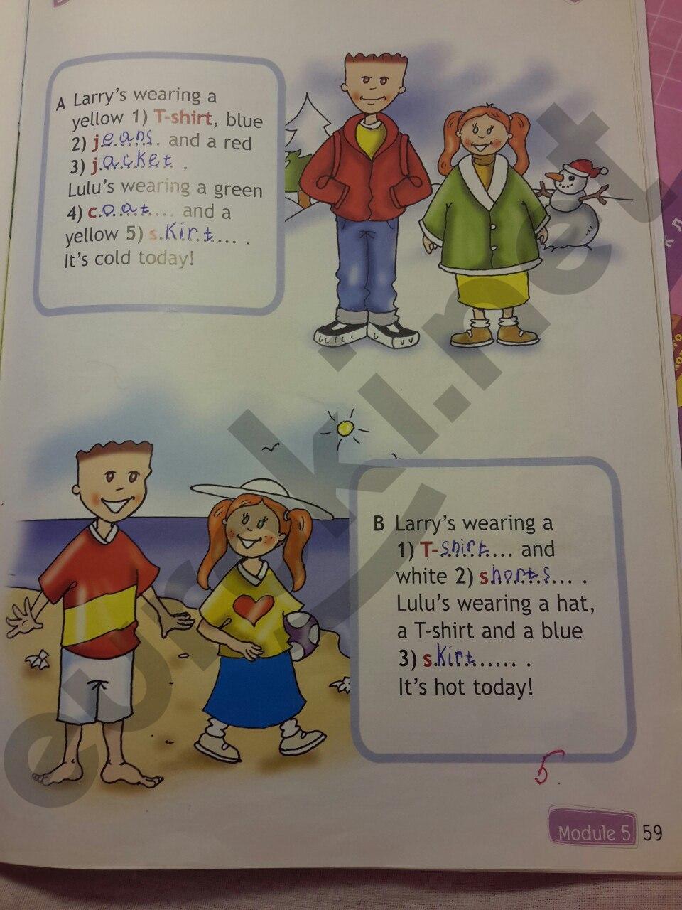 ГДЗ по английскому языку 2 класс рабочая тетрадь Быкова. Задание: стр. 59