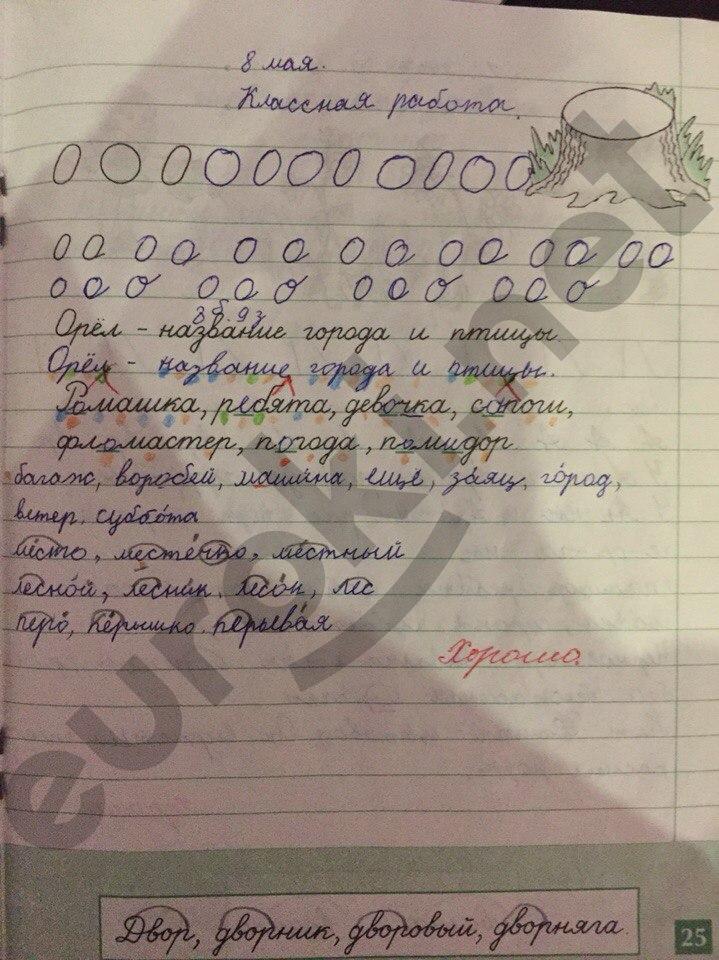 ГДЗ по русскому языку 1 класс рабочая тетрадь Бунеева, Яковлева. Задание: стр. 25