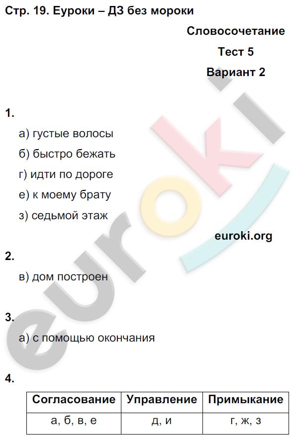 ГДЗ по русскому языку 8 класс тесты Книгина Часть 1, 2. Задание: стр. 19