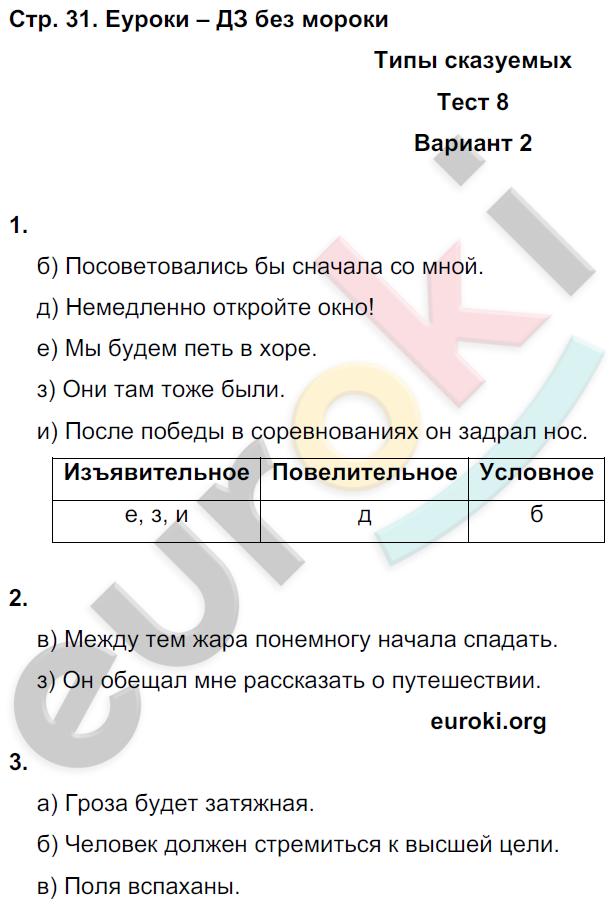 ГДЗ по русскому языку 8 класс тесты Книгина Часть 1, 2. Задание: стр. 31