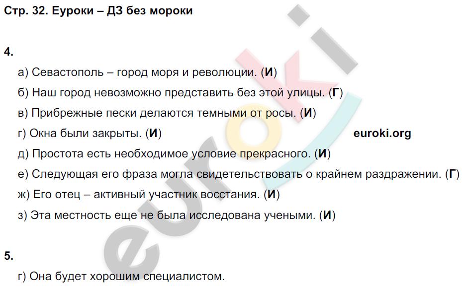 ГДЗ по русскому языку 8 класс тесты Книгина Часть 1, 2. Задание: стр. 32