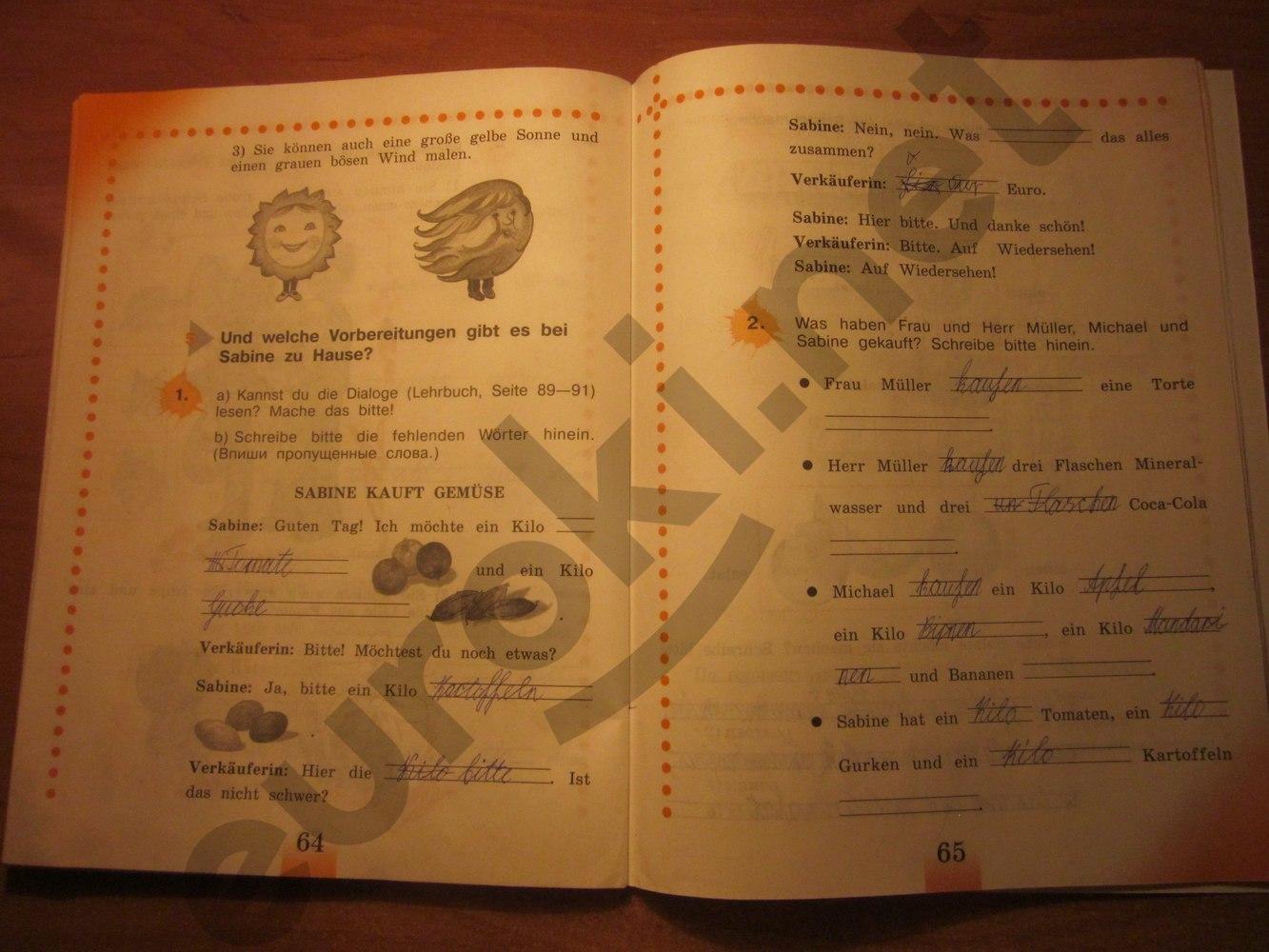 ГДЗ по немецкому языку 3 класс рабочая тетрадь Бим И.Л. Рыжова Л.И. Часть 2. Задание: стр. 64-65